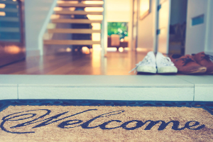 Welcome mat by front door